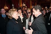 MADAME BERNADETTE CHIRAC; JACQUELINE DE RIBES; PRESIDENT NICOLAS SARKOZY. Legion d'honneur awards. Elysee Palace, Presidence. Rue du Faubourg. 50 Rue de la Bienfaisance. Paris. 07 April 2010