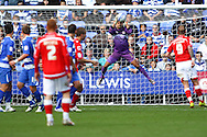 Adam Federici (1) of Reading saves a Barnsley shot during the Npower Championship match between Reading and Barnsley on Saturday 25th September 2010 at the Madejski Stadium, Reading, UK. (Photo by Andrew Tobin/Focus Images)