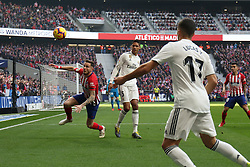 February 9, 2019 - Madrid, MADRID, SPAIN - Raphael Varane of Real Madrid and Saul Niguez of Atletico de Madrid during the spanish football championship La Liga played between Atletico de Madrid and Real Madrid at Wanda Metropolitano Stadium, Madrid, Spain. February 09th 2019. (Credit Image: © AFP7 via ZUMA Wire)