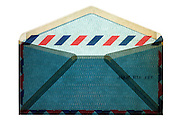 blue traditional standard air mail envelope backside