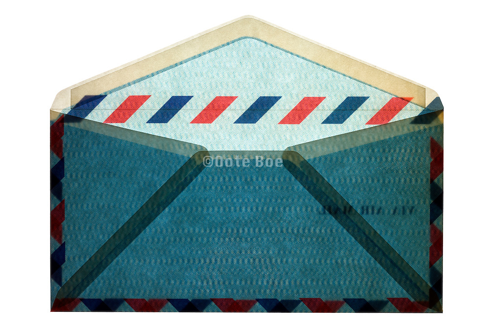 blue traditional standard air mail envelope backside