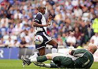 Fotball<br /> England 2005/2006<br /> Foto: SBI/Digitalsport<br /> NORWAY ONLY<br /> <br /> Reading Football Club v Tottenham Hotspurs<br /> Friendly. <br /> Madejski Stadium.<br /> 30/07/2005<br /> <br /> Spurs Jermain Defoe tries for goal but is saved by Readings Marcus Hahnemann