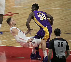 November 27, 2017 - Los Angeles, California, U.S - Blake Griffin #32 of the Los Angeles Clippers is fouled by Julius Randle #30 of the Los Angeles Lakers during their game on Monday November 27, 2017 at the Staples Center in Los Angeles, California. Clippers vs Lakers. (Credit Image: © Prensa Internacional via ZUMA Wire)