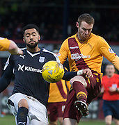 Motherwell&rsquo;s Stephen Pearson clears from Dundee&rsquo;s Kane Hemmings - Dundee v Motherwell, Ladbrokes Premiership at Dens Park <br /> <br />  - &copy; David Young - www.davidyoungphoto.co.uk - email: davidyoungphoto@gmail.com