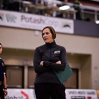 Regina Cougars Head Coach Melanie Sanford of the Regina Cougars in action during Women's Volleyball home game on November 3 at Centre for Kinesiology, Health and Sport. Credit: Arthur Ward/Arthur Images