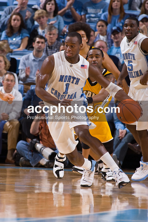 30 December 2007: North Carolina Tar Heels guard Marcus Ginyard (1) during a 114-62 win over the Valparaiso Crusaders at the Dean Smith Center in Chapel Hill, NC.