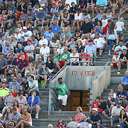 Fans of the Boston Cannons and the Rochester Rattlers watch the action on the field during the game at Harvard Stadium on August 9, 2014 in Boston, Massachusetts. (Photo by Elan Kawesch)