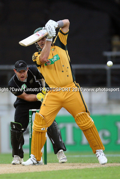 Australia's Shane Watson bats as keeper Gareth Hopkins looks on.<br /> Fifth Chappell-Hadlee Trophy one-day international cricket match - New Zealand v Australia at Westpac Stadium, Wellington. Saturday, 13 March 2010. Photo: Dave Lintott/PHOTOSPORT