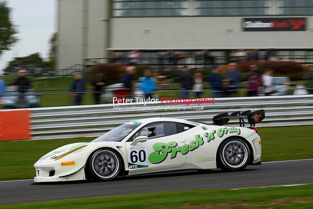 #60 Wayne MARRS Ferrari 458 GTC during GT Cup - Race 2 as part of the MSVR Oulton Park 10th October 2015 at Oulton Park, Little Budworth, Cheshire, United Kingdom. October 10 2015. World Copyright Taylor/PSP. Copy of publication required for printed pictures.  Every used picture is fee-liable.