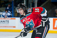 KELOWNA, CANADA - OCTOBER 7: Tate Coughlin #18 of Kelowna Rockets faces off against Swift Current Broncos on October 7, 2014 at Prospera Place in Kelowna, British Columbia, Canada.  (Photo by Marissa Baecker/Getty Images)  *** Local Caption *** Tate Coughlin;