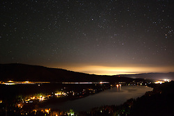 """Donner Lake at Night 1"" - Photograph of Donner Lake looking toward the town of Truckee, California from the old train tunnel area."