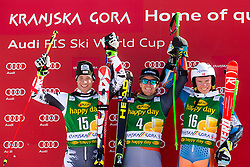 Winner LIGETY Ted of USA, second place for RAICH Benjamin of Austria and third place for KRISTOFFERSEN Henrik of Norway at medal ceremony during the 2nd Run of Men's Giant Slalom - Pokal Vitranc 2014 of FIS Alpine Ski World Cup 2013/2014, on March 8, 2014 in Vitranc, Kranjska Gora, Slovenia. Photo by Matic Klansek Velej / Sportida