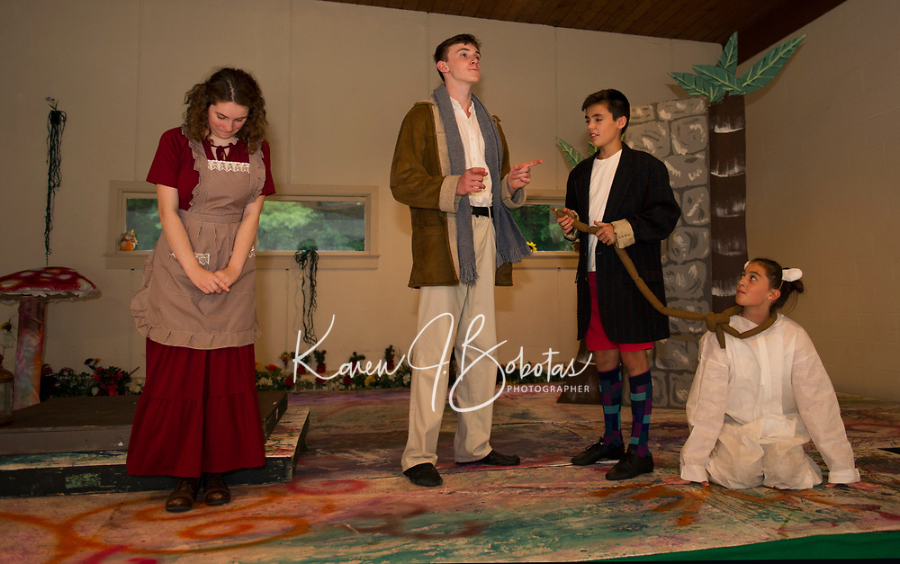 "Streetcar Kids and Youth Theater (SKYT) during dress rehearsal for ""Into The Woods"" at the Gilford Methodist Church.  Karen Bobotas for the Laconia Daily Sun"