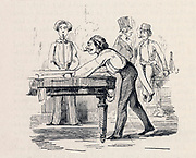 Playing billiards.   Illustration from 'Vanity Fair'  London, 1883, by Thackeray.