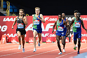 Ronald Musagala (UGA) right, eads the field home to win the men's 1500m in a time of 3.35.12 during the Birmingham Grand Prix, Sunday, Aug 18, 2019, in Birmingham, United Kingdom. (Steve Flynn/Image of Sport via AP)