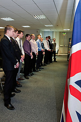 10 young men from Sheffield, Luke oliver, Sam Stocks, Joshua Bradley, Issac Richardson, Nicolai De Sliva, John Richards, Aiden Horsefield, James Badloe, Jake Waters and Charlie Rains stand to take their British Army Oath of Allegiance and join the Yorkshire Regiment at Sheffield AFCO on Monday with their certificates. ..www.pauldaviddrabble.co.uk..20th February 2012 -  Image © Paul David Drabble