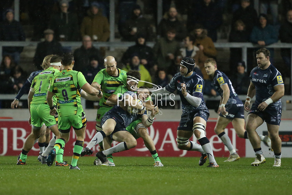 Tom Wood stops Sale during the Aviva Premiership match between Sale Sharks and Northampton Saints at the AJ Bell Stadium, Eccles, United Kingdom on 25 November 2017. Photo by George Franks.