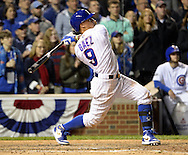 CHICAGO, IL - OCTOBER 7:  Javier Baez #9 the Chicago Cubs hits a solo, game winning home run in the eighth inning during Game 1 of NLDS against the San Francisco Giants at Wrigley Field on Friday, October 7, 2016 in Chicago, Illinois. (Photo by Ron Vesely/MLB Photos via Getty Images) *** Local Caption *** Javier Baez