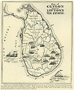 Map showing Lipton Tea Estates in Ceylon.<br />