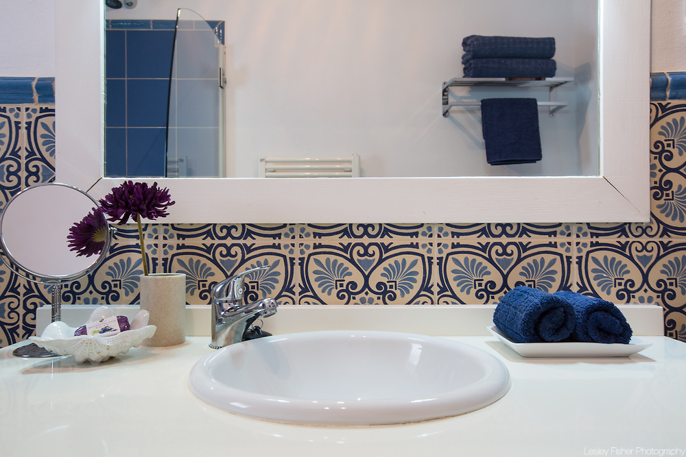 Bathroom at Casa Torre, a 3 bedroom luxury villa with ocean view located near the small village of Canillas de Albaida in the hills of Andalucia region in Spain