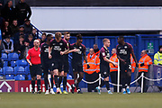 Ivan Toney scores a goal to make it 1-0 and celebrates during the EFL Sky Bet League 1 match between Portsmouth and Peterborough United at Fratton Park, Portsmouth, England on 7 December 2019.