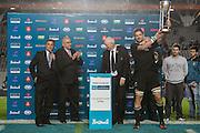 27.09.2014. All Blacks captain Richie McCaw lifts the Rugby Championship trophy. Test Match Argentina vs All Blacks during the Rugby Championship at Estadio Único de la Plata, La Plata, Argentina.