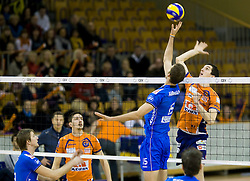 Milan Rasic of ACH Volley vs Ryan Ammerman of Knack Roeselare during volleyball match between ACH Volley (SLO) and Knack Roeselare (BEL) at Quarterfinals of CEV Challenge Cup 2011/2012, on February 8, 2012 in Arena Tivoli, Ljubljana, Slovenia. ACH Volley defeated Knack Roeselare 3-0. (Photo By Grega Valancic / Sportida.com)