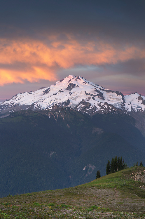 Glacier Peak seen at dawn from Miner's Ridge, Glacier Peak Wilderness North Cascades Washington.<br /> <br /> Glacier Peak (10,541′) or Dakobed is the most isolated of the five major stratovolcanoes of the Cascade Volcanic Arc.
