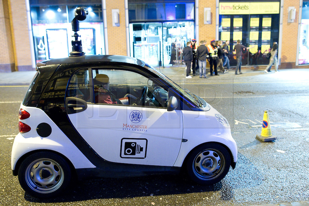 "© London News Pictures. File pic dated 17/12/2011. A Manchester City Council CCTV car is parked near to the Printworks venue, Manchester. The government has announced that it will ban widespread use of 'spy cars' by councils, claiming hat they have been used as a ""cash cow"". Photo credit: Joel Goodman/LNP"