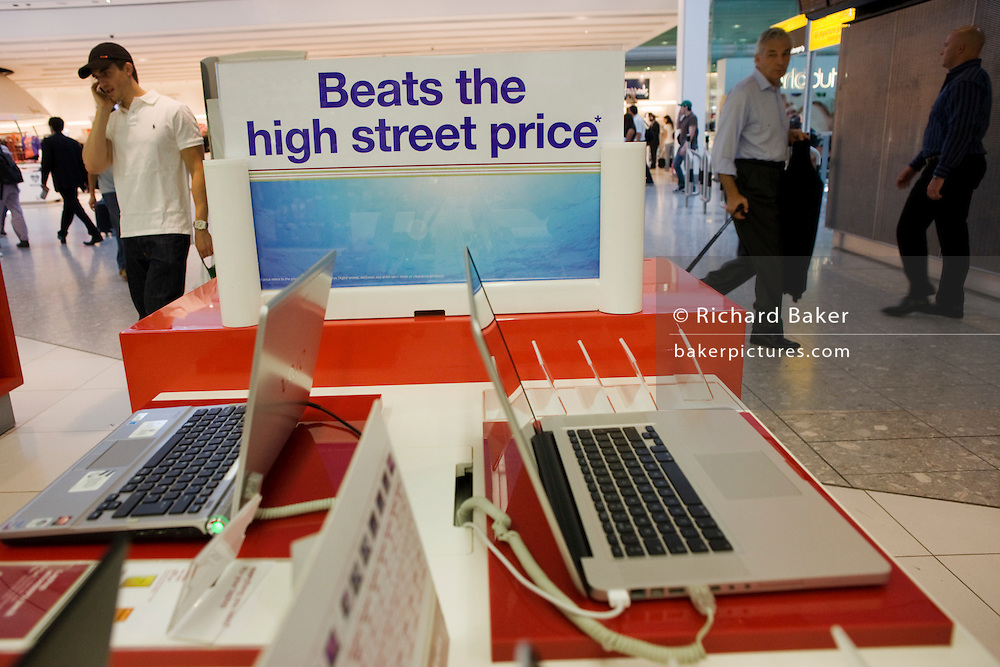Affordable laptops on sale at Dixons Digital shop in departures at Heathrow Airport's Terminal 5.