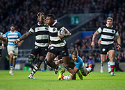 Twickenham, United Kingdom, Saturday, 1st December, 2018, RFU, Rugby, Stadium, England, Baa-Baas wing, No.11, Aphiwe Dyantyi, tackled by, 0 Joaquin Diaz Bonilla,  during the Killik Cup match at Twickenham, Baa-Baas vs Argentina, © Peter Spurrier
