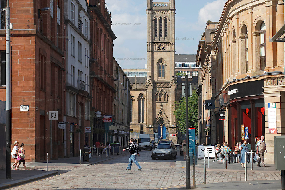 Picture shows : Ramshorn Theatre (church centre) and Merchant Square (right) .Candleriggs Merchant City Area, Glasgow. Travel guide feature..Picture Drew Farrell. tel : 07721-735041......