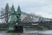 Hammersmith. London. United Kingdom,  Spectators on Hammersmith Bridge,  as Leander Club, pass under the bridge. 2018 Men's Head of the River Race.  Championship Course, Putney to Mortlake. River Thames, <br /> <br /> Sunday   11/03/2018<br /> <br /> [Mandatory Credit:Peter SPURRIER Intersport Images]<br /> <br /> Leica Camera AG  M9 Digital Camera  1/250 sec. 50 mm f. 160 ISO.  17.5MB