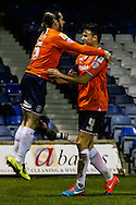 Luke Rooney of Luton Town celebrates scoring the opening goal against Bury with Jonathan Smith of Luton Town (right) during the The FA Cup match at Kenilworth Road, Luton<br /> Picture by David Horn/Focus Images Ltd +44 7545 970036<br /> 16/12/2014