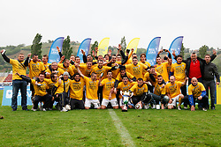 Players of Koper celebrate championship after the football match between NK Nafta Lendava and NK Luka Koper of PrvaLiga league on May 16, 2010 in Lendava, Slovenia. Nafta lost 1 : 2, Koper became National champion.  (Photo by Urban Urbanc / Sportida)