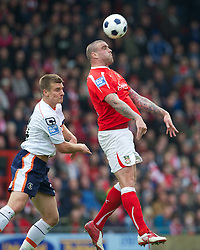 WREXHAM, WALES - Monday, May 7, 2012: Wrexham's Mark Creighton in action against Luton Town during the Football Conference Premier Division Promotion Play-Off 2nd Leg at the Racecourse Ground. (Pic by David Rawcliffe/Propaganda)