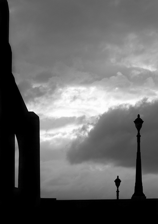 "Black and white shilouette photograph of bridge in Paris by Karl R Lilliendahl. This photo is available as Open and Limited Edition Giclee Print in four different sizes. Click on ""Get Print"" to see more details."