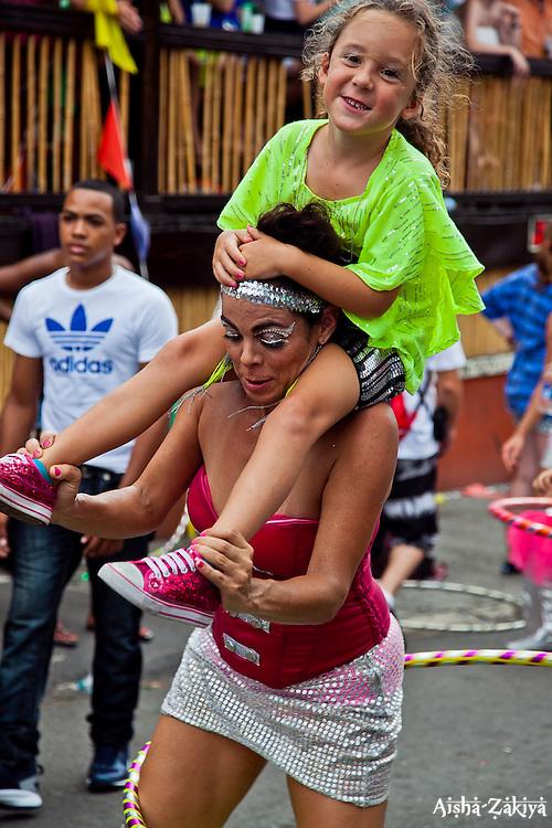 Gina Wellner and daughter Ella Crew.  St. John Carnival 2012 © Aisha-Zakiya Boyd