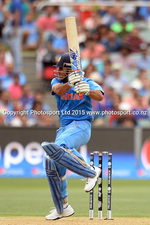 Indian batsman MS Dhoni in action during the ICC Cricket World Cup match between India and Pakistan at Adelaide Oval in Adelaide, Australia. Sunday 15 February 2015. Copyright Photo: Raghavan Venugopal / www.photosport.co.nz