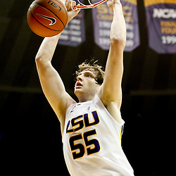 Jan 5, 2013; Baton Rouge, LA, USA; LSU Tigers center Andrew Del Piero (55) dunks against the Bethune-Cookman Wildcats during the second half of a game at the Pete Maravich Assembly Center. LSU defeated Bethune-Cookman 79-63. Mandatory Credit: Derick E. Hingle-USA TODAY Sports