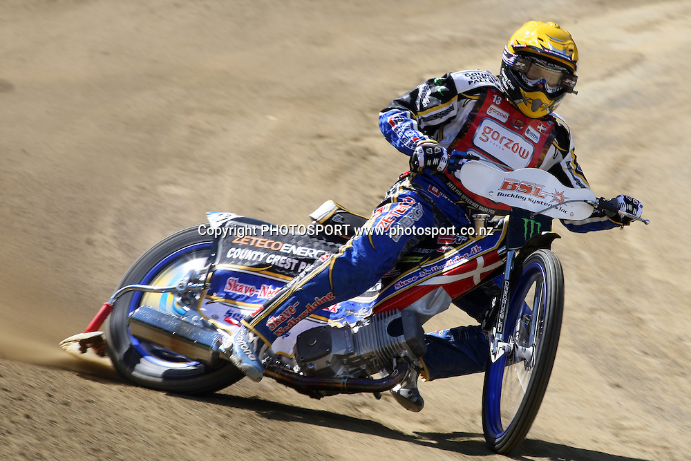 Bjarne Pedersen (Denmark) in action during practice session of the 2012 FIM New Zealand Speedway Grand Prix, Western Springs, Auckland, New Zealand. Thursday 29th March 2012. Photo: Wayne Drought / photosport.co.nz