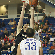 College of Charleston Center David Wishon (33) dunks the ball as Delaware Guard Davon Usher (0) defends in the second half of a NCAA regular season Colonial Athletic Association conference game between Delaware and The College of Charleston Wednesday, Feb 5, 2014 at The Bob Carpenter Sports Convocation Center in Newark Delaware.