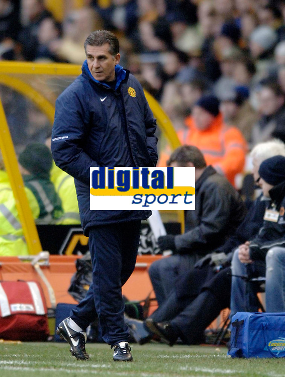 Photo: Glyn Thomas.<br />Wolverhampton Wanderers v Manchester United. The FA Cup. 29/01/2006.<br /> United's assistant manager Carlos Quieroz patrols the touchline in the absence of manger Sir Alex Ferguson.