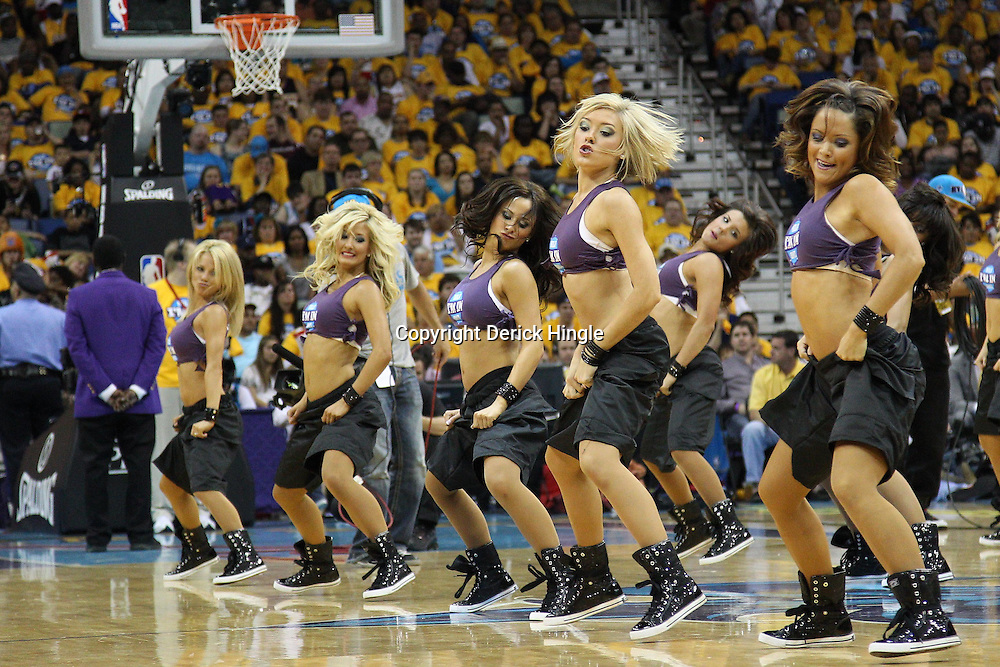 April 22, 2011; New Orleans, LA, USA; New Orleans Hornets Honeybees dancers perform during the second half in game three of the first round of the 2011 NBA playoffs against the Los Angeles Lakers at the New Orleans Arena. The Lakers defeated the Hornets 100-86.   Mandatory Credit: Derick E. Hingle