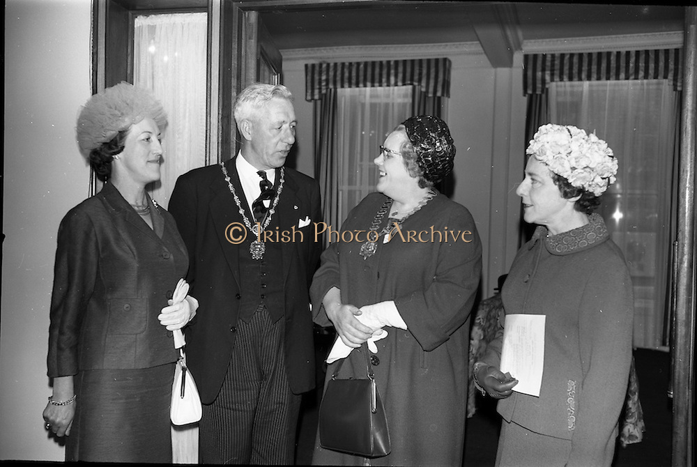 02/06/1964 <br /> 06/02/1964<br /> 02 June 1964<br /> Irish Nurses Organisation Annual General Meeting at Jury's Hotel, Dublin. Picture shows (l-r): Miss M.I. Howard, Deputy General Secretary, Royal College of Nursing, London (guest speaker); The Lord Mayor, Alderman Sean Moore, T.D.; Miss M. McCabe, President I.N.O. (Dublin) and Miss M. Burke, St. Finbarrs Hospital (Cork).