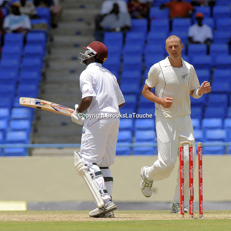 Narsingh Deonarine out for 79 - bowled Chris Martin - Day 4 of the first test West Indies v New Zealand at Sir Vivian Richards Stadium, Antigua, West Indies.<br /> 28 July 2012. Photo;Randy Brooks/Photosport.co.nz