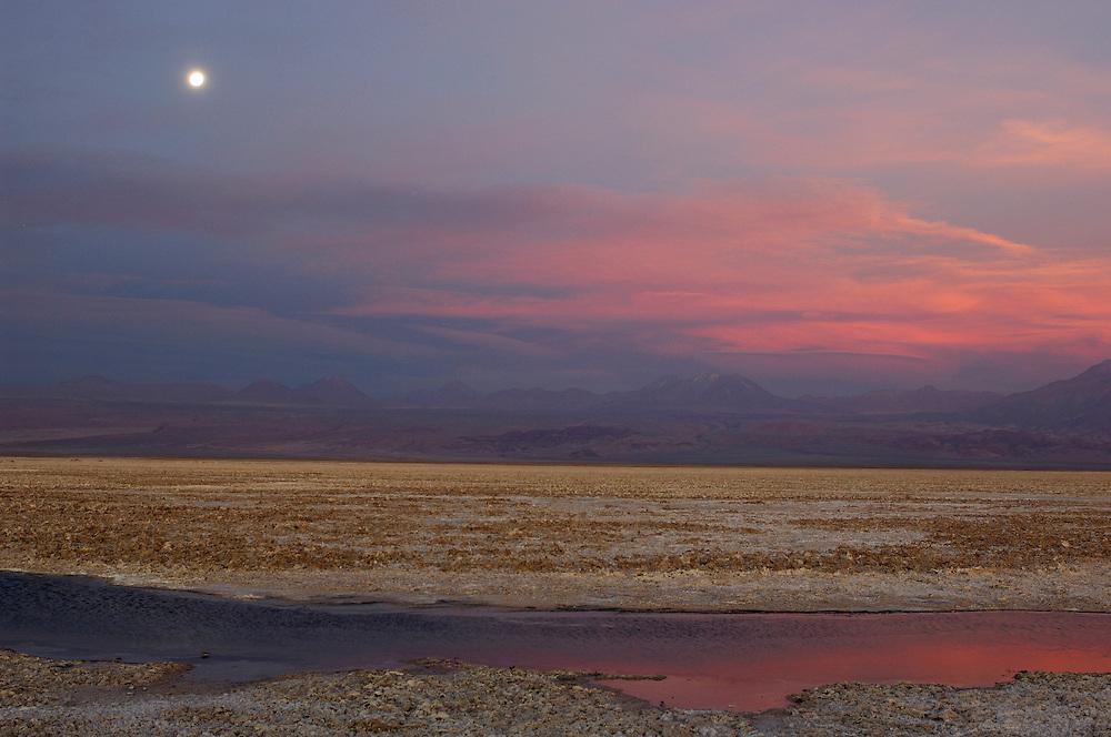 Laguna de Chaxa, Reserva Nacional Los Flamencos, San Pedro de Atacama, Altiplano, Antofagasta, Chile.Full moon over Laguna de Chaxa, Reserva Nacional Los Flamencos, San Pedro de Atacama, Altiplano, Antofagasta, Chile.