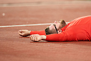 Great Britain, London - 2017 August 11: Pawel Fajdek (Agros Zamosc) of Poland rest while men&rsquo;s hammer throw final during IAAF World Championships London 2017 Day 8 at London Stadium on August 11, 2017 in London, Great Britain.<br /> <br /> Mandatory credit:<br /> Photo by &copy; Adam Nurkiewicz<br /> <br /> Adam Nurkiewicz declares that he has no rights to the image of people at the photographs of his authorship.<br /> <br /> Picture also available in RAW (NEF) or TIFF format on special request.<br /> <br /> Any editorial, commercial or promotional use requires written permission from the author of image.