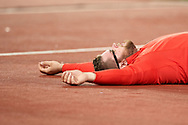 Great Britain, London - 2017 August 11: Pawel Fajdek (Agros Zamosc) of Poland rest while men's hammer throw final during IAAF World Championships London 2017 Day 8 at London Stadium on August 11, 2017 in London, Great Britain.<br /> <br /> Mandatory credit:<br /> Photo by © Adam Nurkiewicz<br /> <br /> Adam Nurkiewicz declares that he has no rights to the image of people at the photographs of his authorship.<br /> <br /> Picture also available in RAW (NEF) or TIFF format on special request.<br /> <br /> Any editorial, commercial or promotional use requires written permission from the author of image.