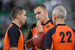 Referees during basketball match between KK Union Olimpija and Fenerbahce Ulker Istanbul (TUR)  in 2nd Round of Regular season of Euroleague 2012/13 on October 19, 2012 in Arena Stozice, Ljubljana, Slovenia. (Photo By Vid Ponikvar / Sportida)